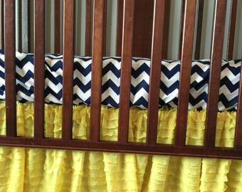 Yellow Crib Skirt - Ruffle Crib Skirt- Yellow Crib Skirt - Baby Bed Skirt- Long Crib Skirt - Ruffled Crib Skirt Baby Nursery Baby Room Decor