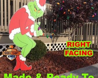 GRINCH Stealing CHRISTMAS Lights Yard Art Decor RIGHT Facing Grinch Free Shipping  Right Facing