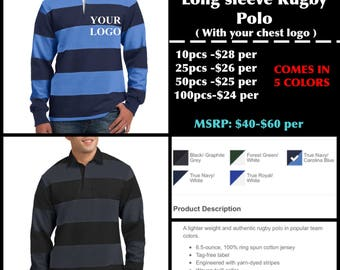 Sport-Tek Men's Long Sleeve Rugby polo ( with chest logo Embroidered )