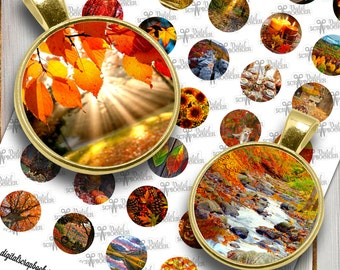 Fall October Seasonal Digital Collage Sheet 1inch Printable Circles Download for pendants, bottle caps and Cabochons