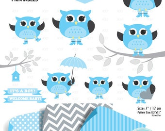 Boy Owl Blue Clipart, baby shower owl, illustration clipart, gray clipart, baby decor, gender reveal party, png clipart, commercial clip art