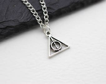 Deathly Hallows Necklace, Harry Potter Jewelry, Dumbledore, Hogwarts Gift, Charm Necklace