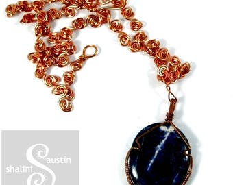 Copper Wire Wrapped Pendant with Sodalite