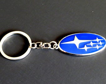 SUBARU Blue Logo Key Chain Keychain Key Ring Silver in Box Stainless Steel