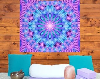 Hippie Wall Hanging, Sacred Geometry Tapestry, Psychedelic Wall Tapestry, Mandala Tapestry, Hippy Decor, Spiritual Tapestry, Meditation Yoga