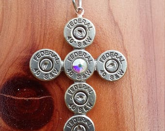 Hand Crafted 40 Caliber Bullet Cross Necklace With Aurora Borealis Swarovski Crystal