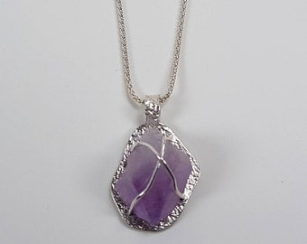 New collection Raw Amethyst in Sterling Silver Pendant New Collection. 15% Off. Free shipping