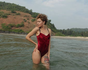 Swimsuit Red (ready to ship) Velvet Cohesive