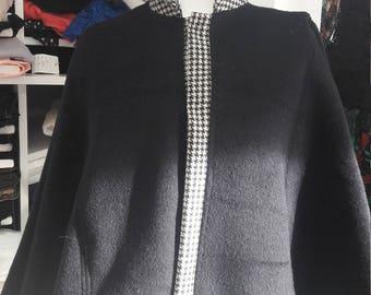 Fashion trendy Korean collar women's cloak on contrast