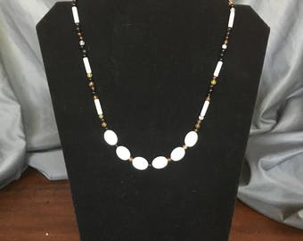 black agate and mother of pearl necklace