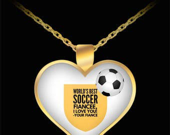 WORLD'S BEST Soccer Fiancee! Gold Plated Necklace