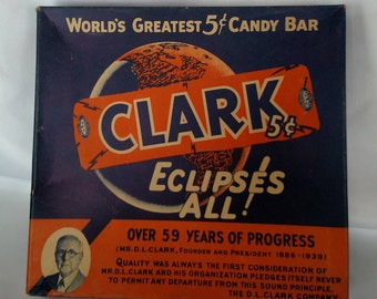 Vintage Clark's 5c Candy Bar box