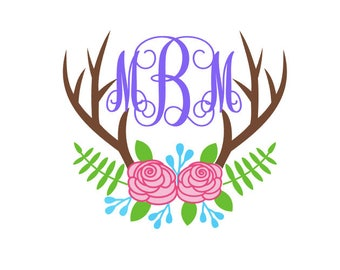 monogrammed deer antlers decal, monogram floral antlers decal, flowers antlers, deer flowers decal, floral deer decal, deer yeti decal