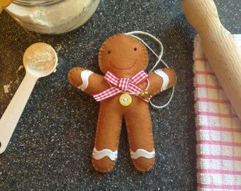 Gingerbread man felt Christmas decoration gift, Handmade