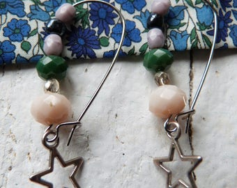 Earrings silver large hook with sequin star