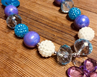 "Purple ""garden party"" bubblegum bead necklace"