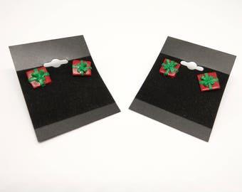 handmade polymer clay christmas present stud earrings