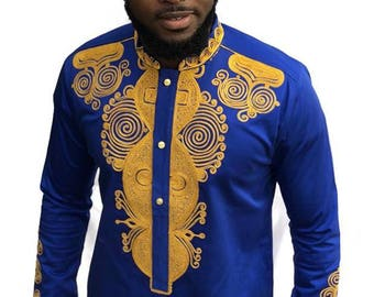Odeneho Wear Mens Royal Blue Polished Cotton Top with Gold Embroidered Design African Clothing
