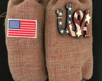 USA or Flag Wine Sack or Wine Bag