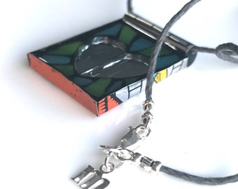 Upcycled mosaic necklace love002