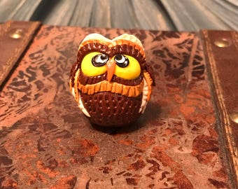 Brown Owl/Charm/Miniature/Bird/Polymer Clay/OOAK