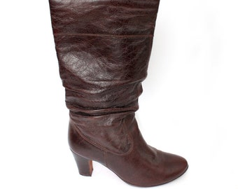 EU 39 - Burgundy brown boots womens size UK 6 / US 8,5 - 70s style leather high boots hippy boho - 90s vintage shoes for women
