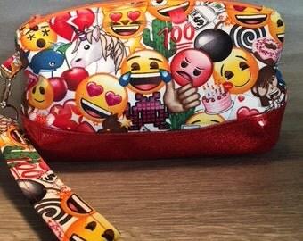 Clematis Clutch, Emoji, Wristlet, Makeup Bag, Zipper Pouch, Evening Bag, Glitter Vinyl, Pencil Pouch