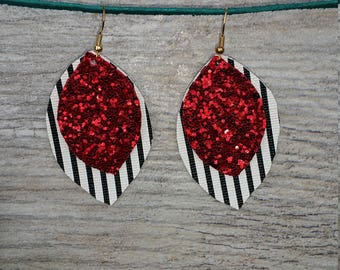 Glittery Red Black and White Double Layered Vegan Leather Drop Earrings