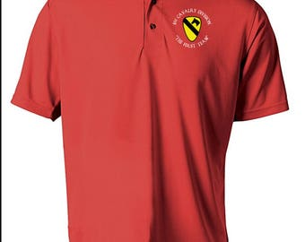 1st Cavalry Division Embroidered Moisture Wick Polo Shirt -4287