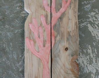"Pink Coral Sponge Painted Rustic Wooden Coastal Beach Wall Sign - Size 15.5"" by 7.5"""