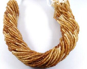 "AAA Hessonite Garnet, Natural Hessonite Garnet Beads, Hessonite Garnet Gemstone, Hessonite Faceted Beads 2-2.5mm 13"" Long For Making Jewelry"