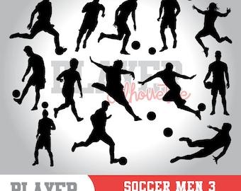 Soccer Men SVG, Soccer player svg, Soccer digital clipart, athlete silhouette, Soccer Men sport, cut file, design, A-017