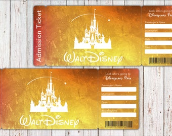 Disney World Ticket, Disney World boarding pass, Disney World Trip Ticket, Disneyland Park Ticket