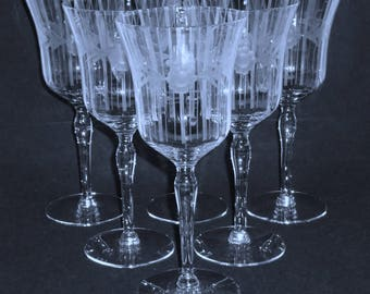 6 Fostoria Tiffin WATER GOBLETS clear Crystal Optic stemware glasses Flower Cut & vertical Needle Etch