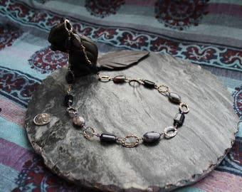 Purple Lace Agate, Blue Goldstone, Swarovski & Sterling Silver Necklace