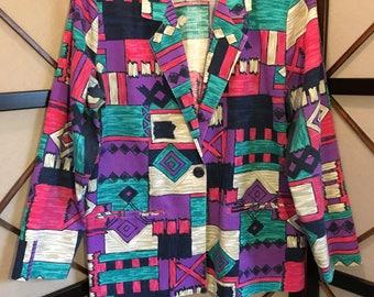 80's Vintage Patterned Blazer - Medium