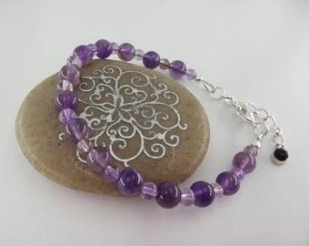 Amethyst Bracelet Beaded February Birthstone Gift for Her Amethyst Beads Purple Bracelet Beaded Jewelry Amethyst Jewelry Ultra Violet