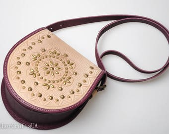 Leather purse with metal, shoulder leather bag, hot tooled leather, round crossbody bag, purple white bag, genuine leather, stylish bag