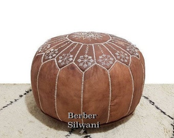 Stunning Tan Moroccan Leather Pouf, Moroccan Pouf Ottoman Footstool Poof Poufs