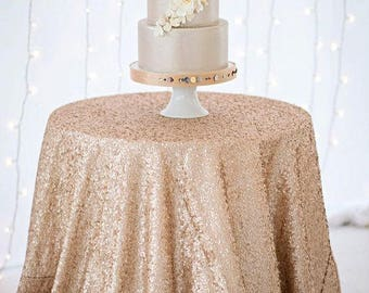 "96"" Champagne Matte Sequin Round Tablecloth Table Cloth Dinner Cake Table Sweet Heart Wedding Sparkly Glittery Blush Wholesale Sale Fast"