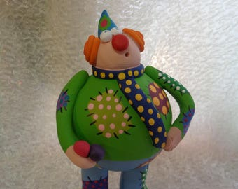Ceramic clown juggler.