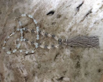 Long Silver,Crystal and Milk Stone Necklace with Tassel Drop