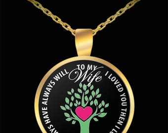 Valentines I Love You Wife Necklace - Husband Gift For Wife - Grow Love Grows Anniversary Gifts From Husband - Gold Plated Pendant Necklace