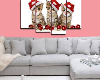 Christmas Cats Canvas, 4 panel canvas