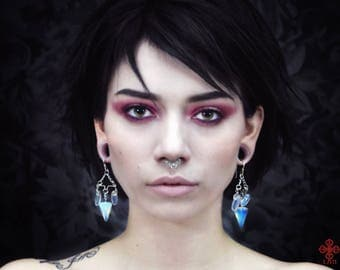 Pendulum earrings ,ear weights ,opal ,wiccan,tribe,ornemental,pagan,stone jewelry,natural stone earring,goth,witch,occult,esoteric