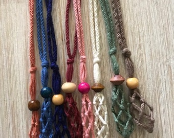 Interchangeable Macrame Crystal Necklace