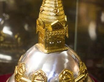 Replica Swayambhu Buddhist Stupa in Glass Cage Handmade in Nepal