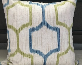 Blue & Green Geometric Accent Pillow Cover