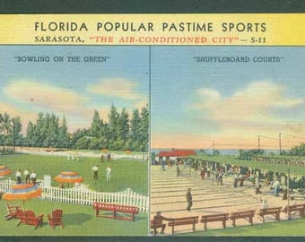Pastime Sports Sarasota Florida Bowling on the Green and Shuffleboard 1948 Collage Postcard