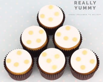 Shimmer dots handmade cupcake toppers - 6